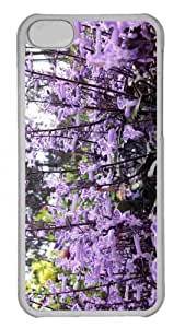 Customized iphone 5C PC Transparent Case - Violet Flowers 3 Personalized Cover