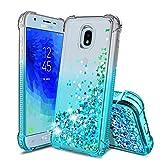 Samsung Galaxy J3 2018 Case,Galaxy J3 Star/J3 Orbit/Amp Prime 3/J3 V/Express Prime 3/J3 Achieve/J3 Top/Sol 3 Phone Case,TPU Glitter Liquid Quicksand Shockproof Protective Cover for Girls Women,Teal