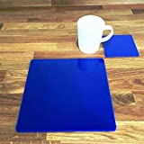 Square Placemat and Coaster Set - Blue - Set of 8 - Large