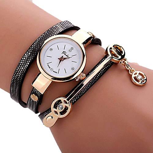 Women's Watch,Elegant Wrap Around Strap Bracelet Quartz Dial Metal Wristwatch with Pendant Axchongery (Black) ()