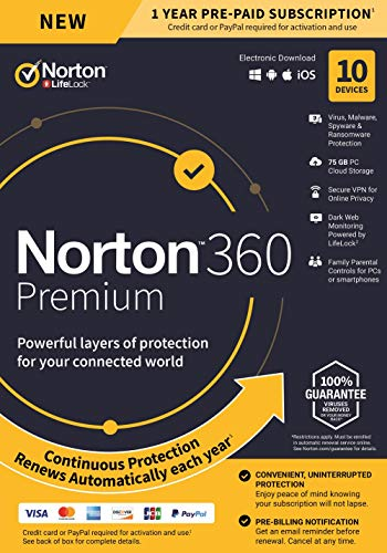 NEW Norton 360 Premium - Antivirus software for 10 Devices with Auto Renewal - Includes VPN, PC Cloud Backup & Dark Web Monitoring powered by LifeLock [PC/Mac/Mobile Key Card] (Best Antivirus App For Mac)