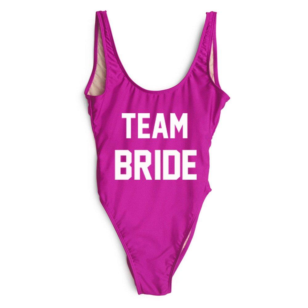 shifeier Team Bride Letter Print One Piece Swimsuit Women Swimwear High Cut Bathing Suit Sexy Bodysuit Monokini Beach Wear Wedding Party (Team Bride Purple, m)