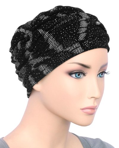 Glamour Cap Chemo Turban Black & Silver Abstract for Women with Cancer, Chemo, Hair Loss