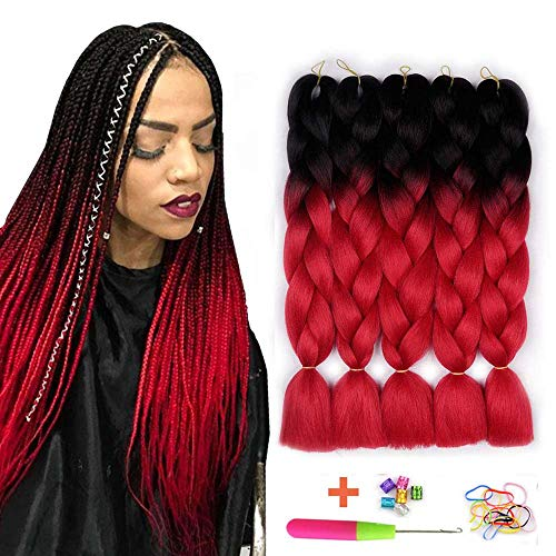 AIDUSA Ombre Colors Braid Kanekalon Hair 5pcs Synthetic Afro Braiding Hair Extensions 24 Inch 2 Tone for Women Hair Twist Crochet Braids 100g(#01 Black to Red) (Best Color To Ombre Black Hair)