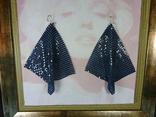 [Navy metal mesh earrings, disco earrings, navy earrings, navy disco earrings, 70s earrings, navy dangle earrings, 70's] (70s Jewellery Disco)