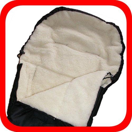 Baby Universal Fußsack, 100% Lammwolle, schwarz Baby Universal Fußsack Natur-Fell-Shop KiWa-FS-schwarz