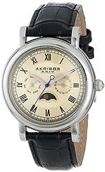 Akribos XXIV Men's AK635SSW Retro Stainless Steel Watch with Black Leather Band