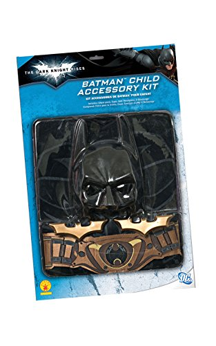 Batman: The Dark Knight Rises: 6 Piece Costume Accessory Set, Child Size (Black) Batman Child Molded Belt