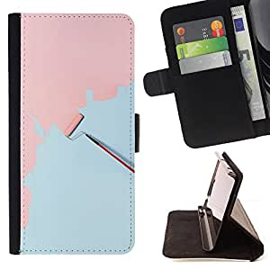 Jordan Colourful Shop - wall painting art pink light blue scroll For HTC One M8 - Leather Case Absorci???¡¯???€????€????????&ce