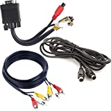 Fosmon® Premium (Bundle) VGA Adapter to TV S-Video RCA Out + (12ft) S-Video Cable Gold Plated + (12ft) 3 RCA Plug to 3 RCA Plug (M/M) - for PC, Laptop, HDTV, VCR, DVD, HD-TV, LCD Projectors & Other Devices with VGA & S-Video Support