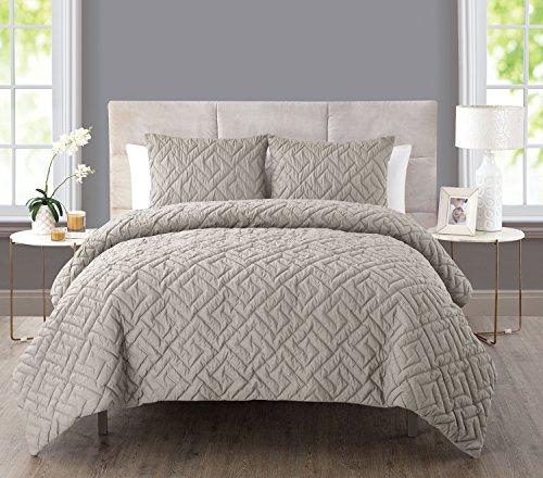 - VCNY Home Artemis 3 Piece Comforter Set, Full/Queen, Taupe