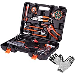 KORAM 13-Piece Garden Tools Kit Plant Care Tool Home Improvement Tool Sets with Carrying Case Include Secateurs, Trowel Pruners, Pruning Saw, Rakes - Garden Gifts for Men & Women