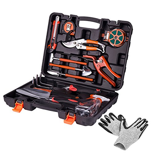 KORAM 13-Pieces Garden Tools Kit Plant Care Tool Home Improvement Tool Sets with Carrying Case Include Secateurs, Trowel Pruners, Pruning Saw, Rakes