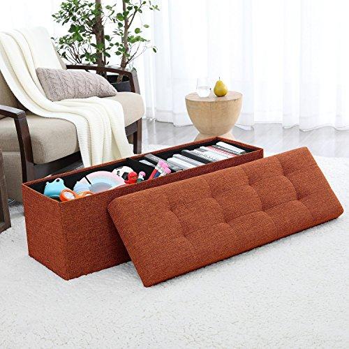 "Ellington Home Foldable Tufted Linen Large Storage Ottoman Bench Foot Rest Stool/Seat - 15"" x 45"" x 15"" (Rust)"
