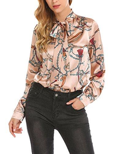 Pinspark Women's Fashion Collar Long Sleeve Print Casual Button Down Blouse Shirt (XL, Pink-Satin)