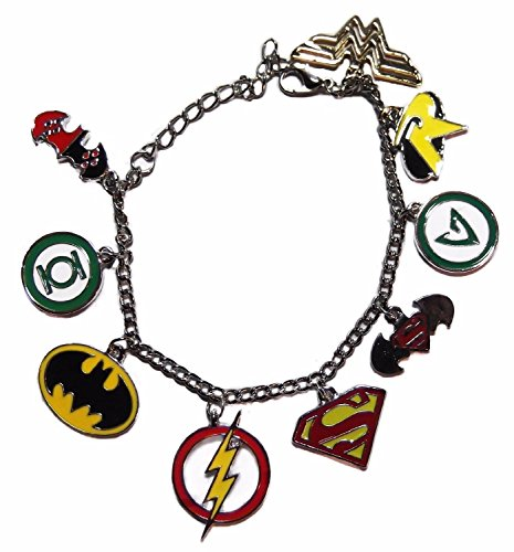 DC+Comics Products : DC Comics SUPER HERO Series Assorted Themed Silvertone Charm Bracelet w/Gift Box By Athena
