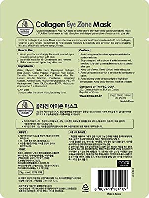COS.W Smoothing Collagen Eye Pads(2 Pack of 30 Sheets) with Vitamin E for Dark Circles and Puffiness (60 Count)