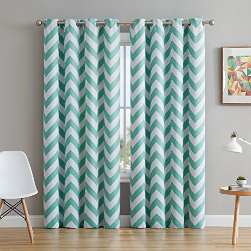 HLC.ME Chevron Print Thermal Insulated Room Darkening Blackout Grommet Curtains for Nursery & Kids Bedroom - Mint Green - 52