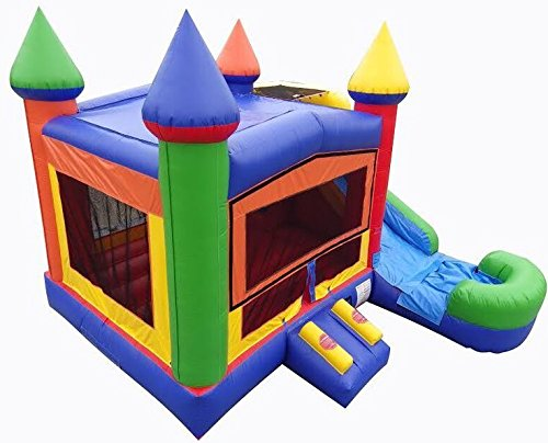 Rainbow Bounce House (Rainbow Bounce House Castle with Water Slide Combo, Wet or Dry, Commercial or Residential Bouncer Inflatable)