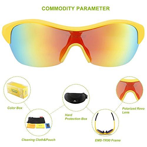 a998e713226d Torege Tr90 Flexible Kids Sports Sunglasses Polarized Glasses for Boys  Girls Age 3-15 Trk001 (Yellow black)