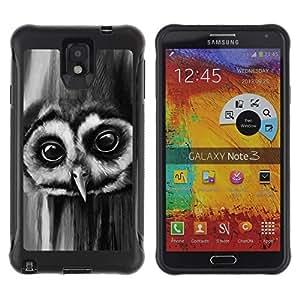 LASTONE PHONE CASE / Suave Silicona Caso Carcasa de Caucho Funda para Samsung Note 3 / Owl Night Big Eyes Bird Forest Black White