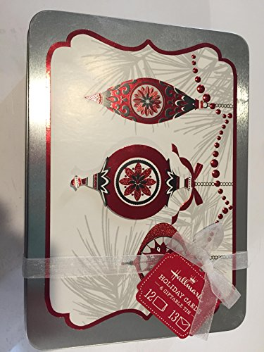 Hallmark Holiday Cards & Giftable Tin Red White Tree Ornament Design