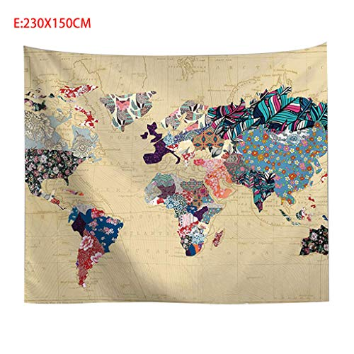 Redvive TopVintage World Map Wall Tapestries Hanging Hippie Tapestry Bedspread Yoga Mat -