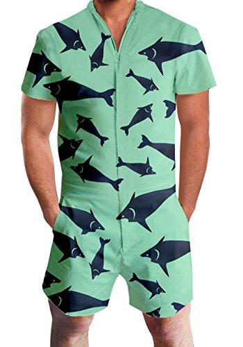 AIDEAONE Mens 3D Fish Shark Print One Piece Zipper Romper Short Sleeve Jumpsuit Overalls