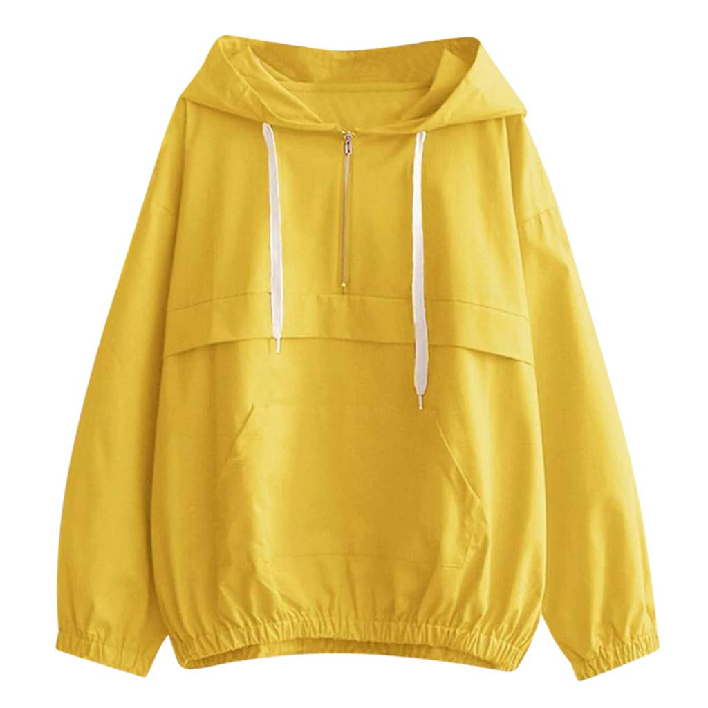 DRAGONHOO Plus Size Clothing for Women Women Long Sleeve Thin Sweatshirt Zipper Pockets Sport Hooded Casual Blouse Blue Shirt Women by DRAGONHOO