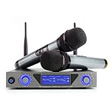 ARCHEER UHF Wireless Microphone System with LCD Display and Dual Handheld Dynamic Microphones for outdoor wedding, Conference, Karaoke, Evening Party