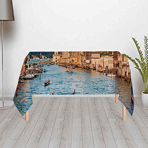 (TecBillion Venice Comfortable Satin Tablecloth,Gondola on Famous Canal Grande with Basilica di Santa Maria Della Salute in Evening for Office & Home Table,60.24''W x 30.01''H)