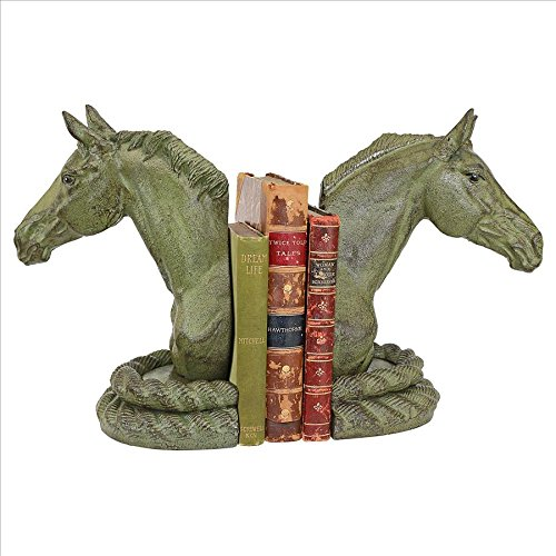 Design Toscano SP915 Americana Equestrian Elegance Horse Cast Iron Sculptural Bookend Pair Iron Horse Bookends