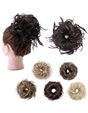 Tousled Updo Messy Bun Hair Pieces Curly Wavy Elastic Scrunchies Rubber Band Hairpiece Fluffy Hair Extensions Synthetic Chignon Ponytail Donut for Women Hairpiece