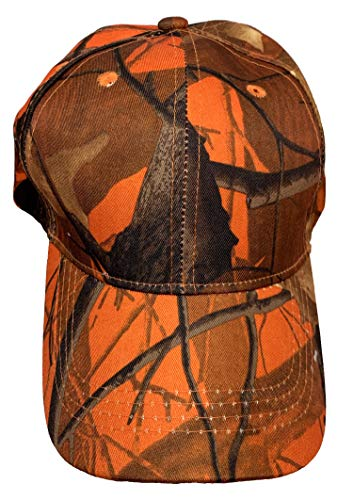 Black Duck Brand Camouflage Hat with Hardwood Pattern, 5 Colors to Choose from (Orange Camo)