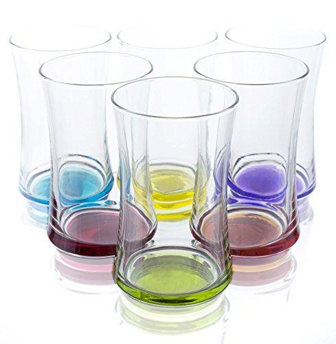 Multi-Colored 11.75 oz Highball Glasses - Set of 6, Bulk packaging (Highball Hand Painted Glass)