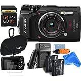 Olympus TG-5 Waterproof ALL YOU NEED RUGGED Digital Camera BUNDLE + DigtalAndMore Micro Fiber Lens Cleaning Cloth (BLACK, 64GB SD CARD)