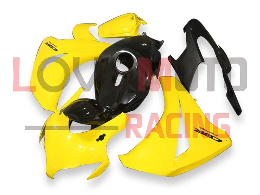 LoveMoto ブルー/イエローフェアリング ホンダ honda CBR1000RR 2008 2009 2010 2011 08 09 10 11 CBR1000 RR ABS射出成型プラスチックオートバイフェアリングセットのキット イエロー ブラック   B07K9PGL18