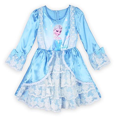 ReliBeauty Little Girls' Elsa Print Luxurious Lace Layer Court Dress (4(5 years), Blue)