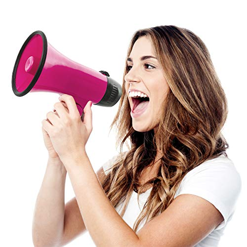 Wembley Handheld Megaphone, Bullhorn Loudspeaker with Built-in Bottle Opener, Battery-Powered Horn for Coaches and Fans, Best Speaker for Football and Soccer Games, Amplify Voice (Neon Pink)