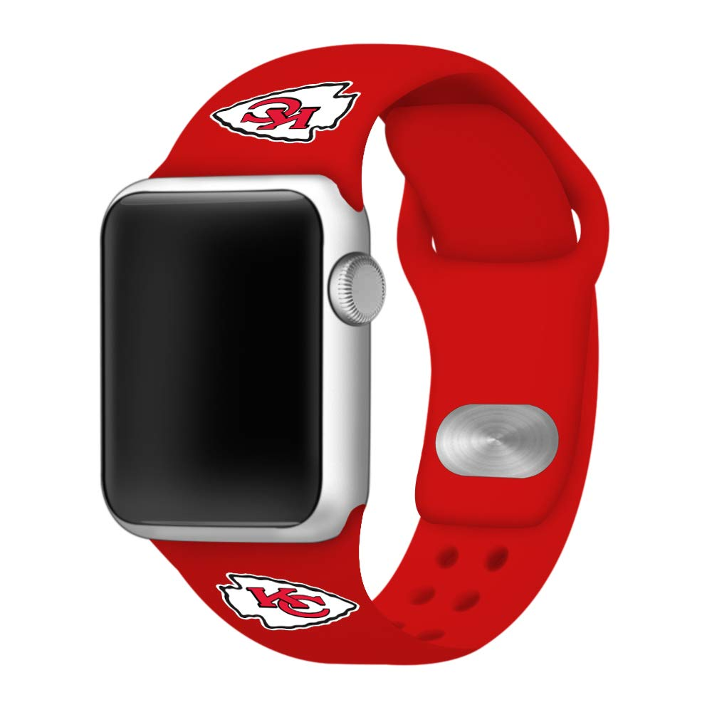 GAME TIME Kansas City Chiefs Silicone Band Compatible with Apple Watch (38mm/40mm Red) by Game Time