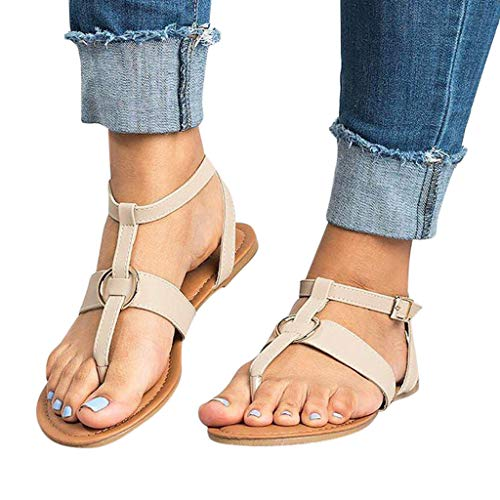 Cenglings Women's Flip Flops Buckle Flat Sandals Beach Slippers Ankle Strap Slip On Roman Shoes Beige (Patent Leather Guess Sandals)