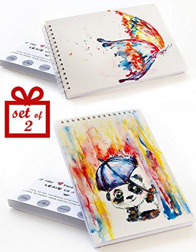 Sketchbook Set: 2 Small Sketch Pads Perfect for Kids! 60 lb Art Paper – 50 Sheets – Spiral – Hardcover