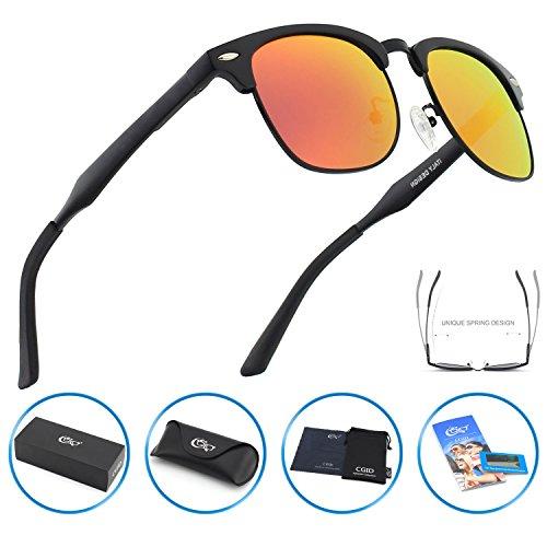 CGID GD58 Al-Mg Alloy Clubmaster Style Polarized Sunglasses UV400,Sun Glasses with Metal - Clubmaster Aluminum Black