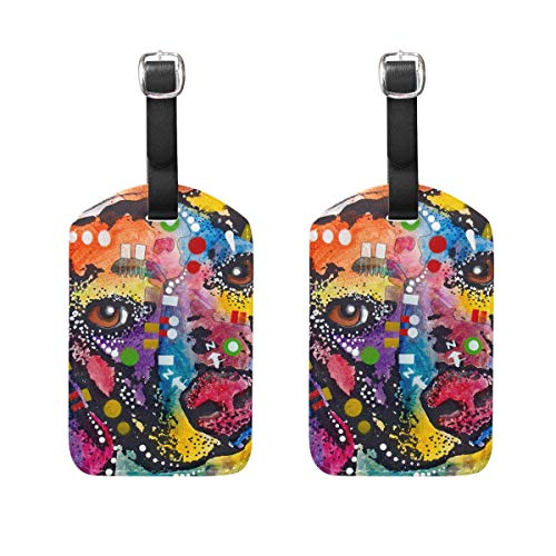 Colorful Spotted Beagle Art Luggage Tag Travel ID Label Leather for Baggage Suitcase 2 Piece Set