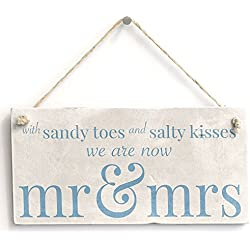"Meijiafei With Sandy Toes .. Mr & Mrs - PVC Sign Beach Wedding / Married Sign 10""x5"""