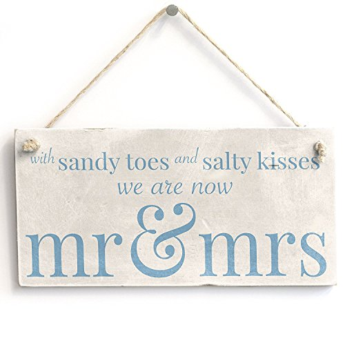 Meijiafei with Sandy Toes Mr & Mrs - PVC Sign Beach Wedding/Married Sign 10