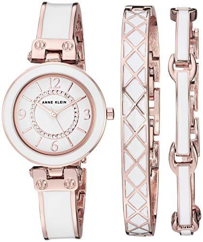 Anne Klein Women's AK/3296WTST Swarovski Crystal Accented Rose Gold-Tone and White Bangle Watch and Bracelet Set from Anne Klein