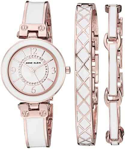 Anne Klein Women's AK/3296WTST Swarovski Crystal Accented Rose Gold-Tone and White Bangle Watch and Bracelet Set
