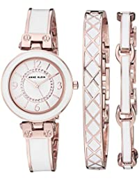 0150732cef0 Women s AK 3296WTST Swarovski Crystal Accented Rose Gold-Tone and White  Bangle Watch and · Anne Klein