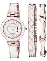 Anne Klein - Juego de reloj y pulsera para mujer con cristales Swarovski, Oro Rosa/Blanco